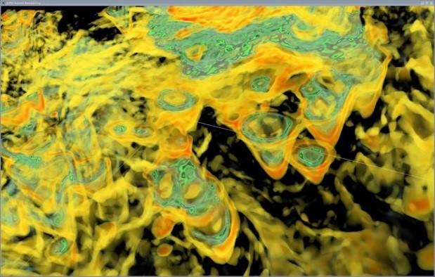 Paradigm VoxelGeoにおいてGPUベースのレンダリングで可視化されたシェールガス貯留槽内のカルスト化
